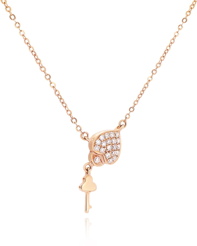 香港 ARTSY FINE JEWELLERY 18k玫瑰金 0.115克拉钻石镶嵌心形锁&钥匙女士项链
