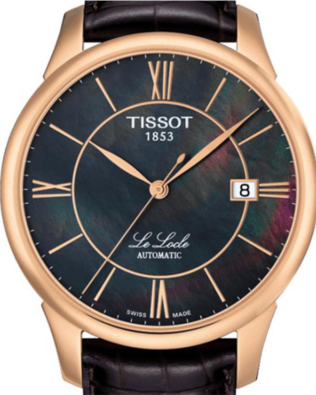 瑞士名表 Tissot 天梭 力洛克系列棕色珍珠贝母自动机械中性腕表 T41.6.413.63