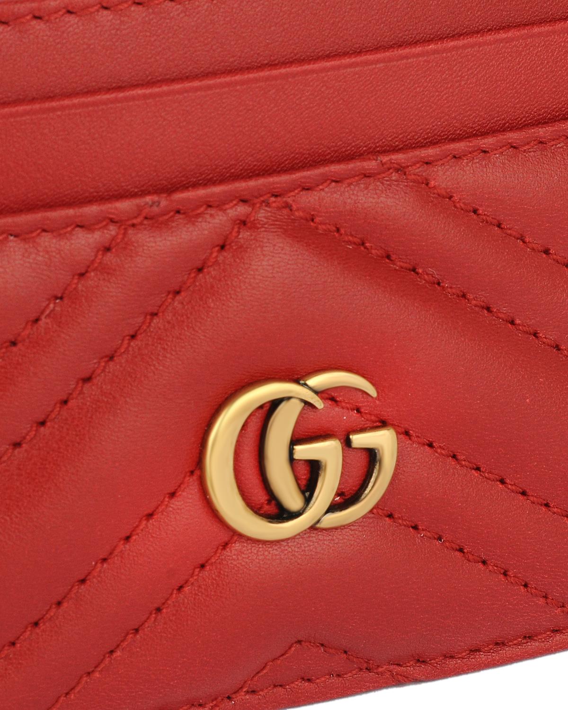 意大利 GUCCI 古驰 GG Marmont系列 红色牛皮绗缝卡包 443127-DRW1T-6433