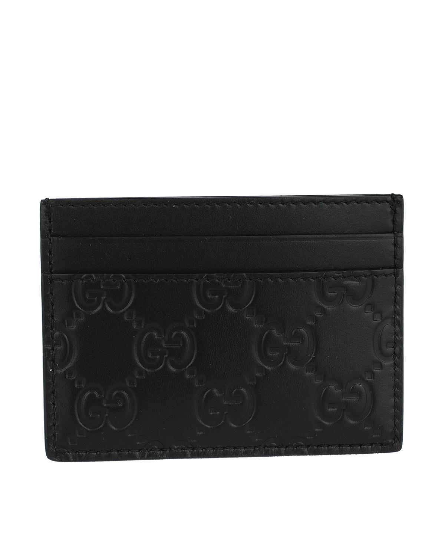 意大利 GUCCI 古驰 黑色双G牛皮男士短款卡包零钱包 473927-CWC1N-1000