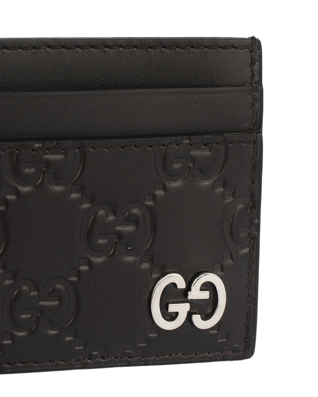 意大利 GUCCI 古驰 棕色双G牛皮男士短款卡包零钱包 473927-CWC1N-2140