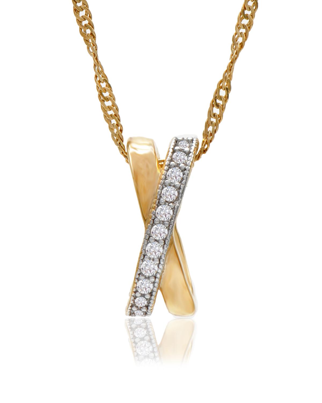Buckley London 金色X形银饰项链