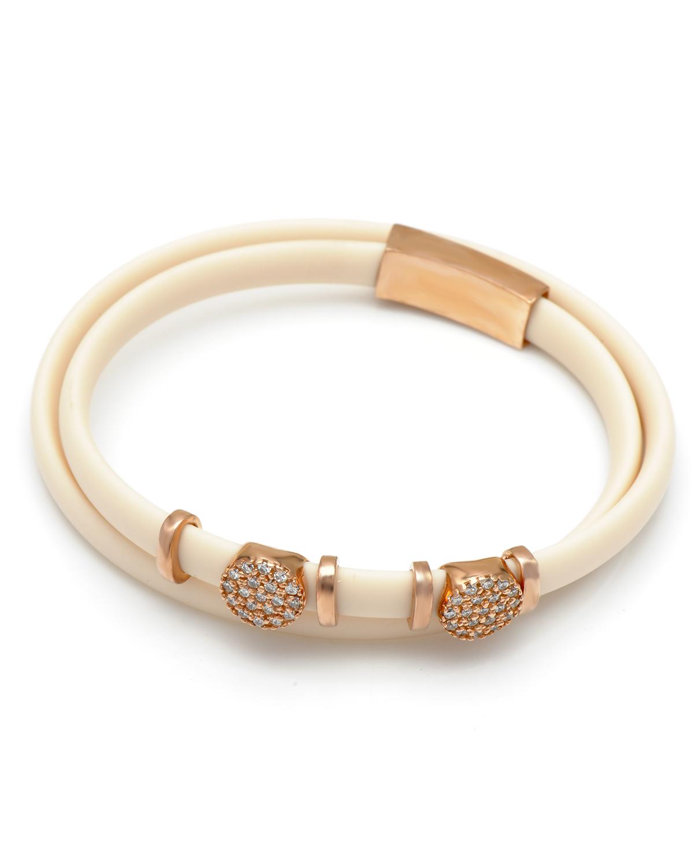 Bouton 同名串珠玫瑰金镶晶钻双层手链