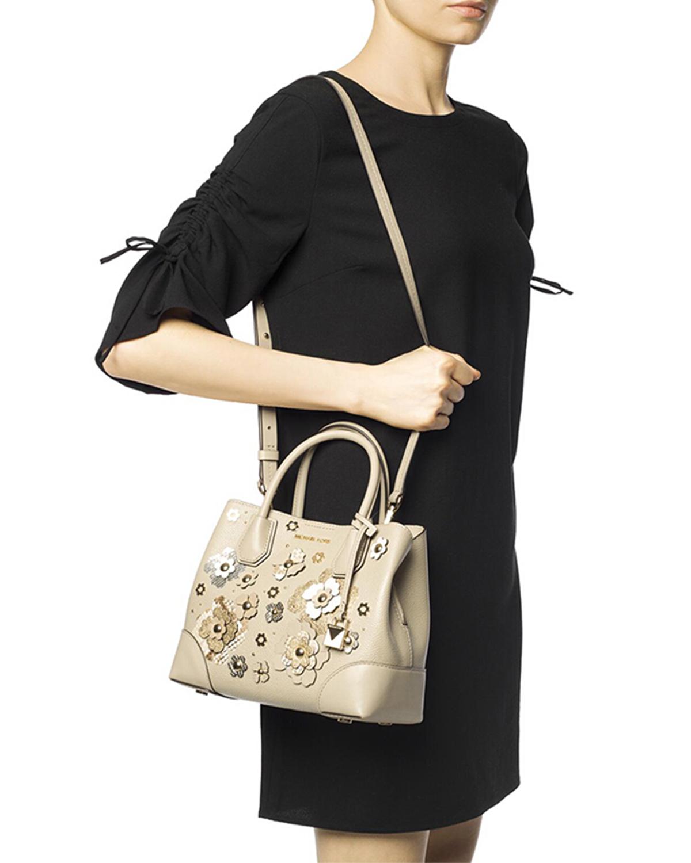 美国 Michael Kors 迈克高仕 女士米色皮革花朵装饰手提斜挎单肩包 30S8GZ5T0N-OAT MULTI