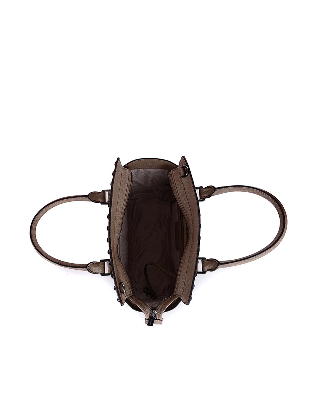美国原装进口 Michael Kors 迈克高仕 SELMA STUD系列 深卡其色牛皮铆钉女士手提斜挎单肩包 30T6TSMS2L DK DUNE