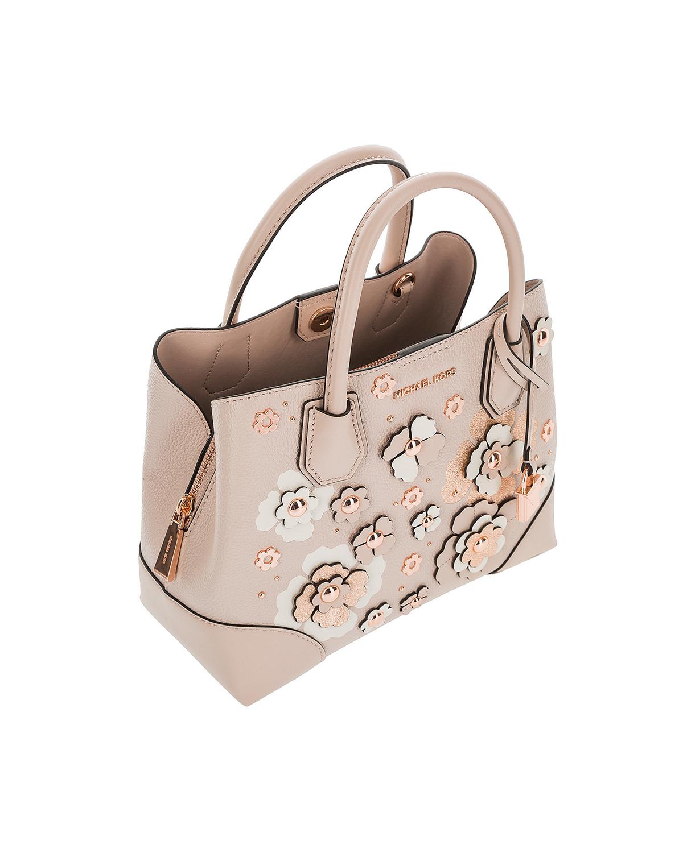 美国原装进口 Michael Kors 迈克高仕 Mercer Gallery系列 粉色牛皮女士手提单肩包 30S8TZ5T0N-SFTPNK MULTI