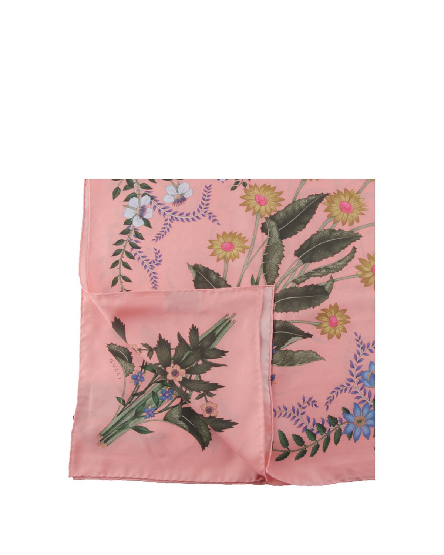 意大利 Gucci 古驰 女士粉色桑蚕丝印花图案丝巾 476526 3G001_6900