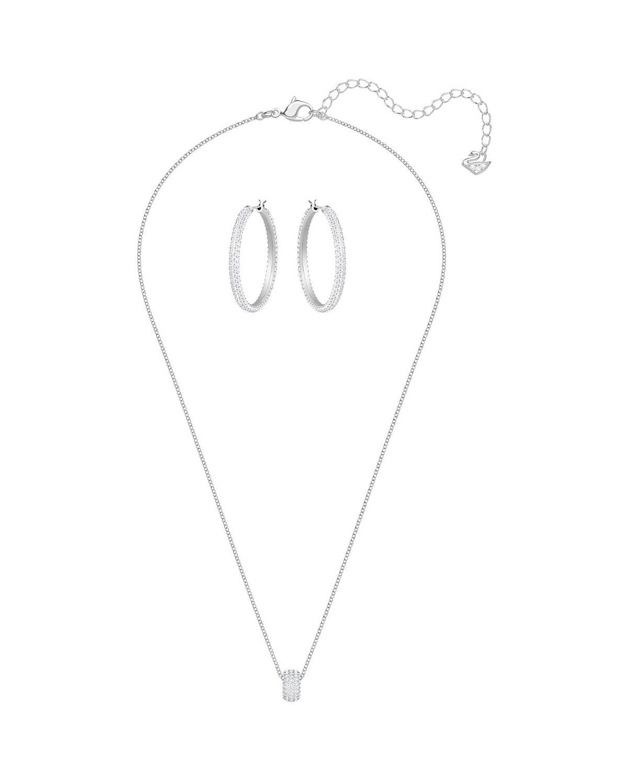 奥地利原装进口 Swarovski 施华洛世奇 STONE典雅迷人项链耳饰套装 银色5408456
