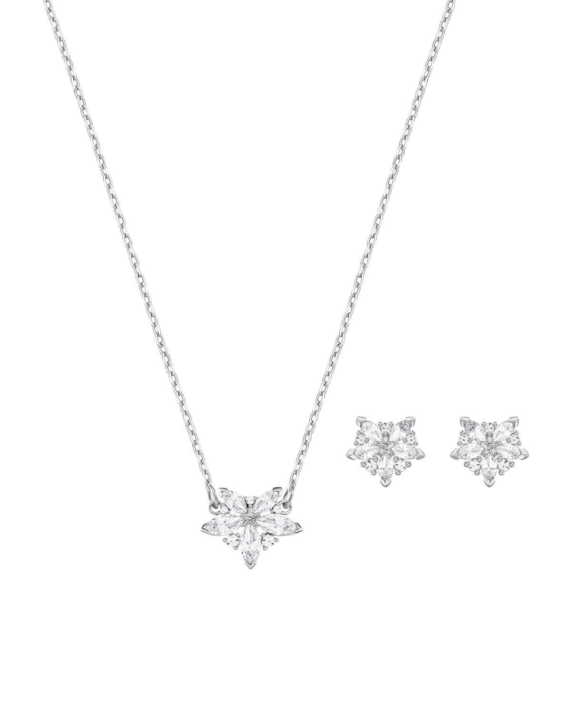 奥地利 Swarovski 施华洛世奇 LADY时尚水晶花朵项链耳饰套装 银色5408432