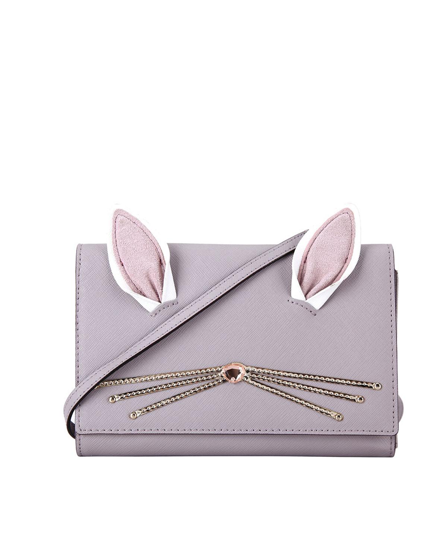 美国原装进口 Kate Spade 凯特丝蓓 hop to it rabbit winni 淡紫色牛皮女士迷你单肩斜挎包 WLRU3201-150