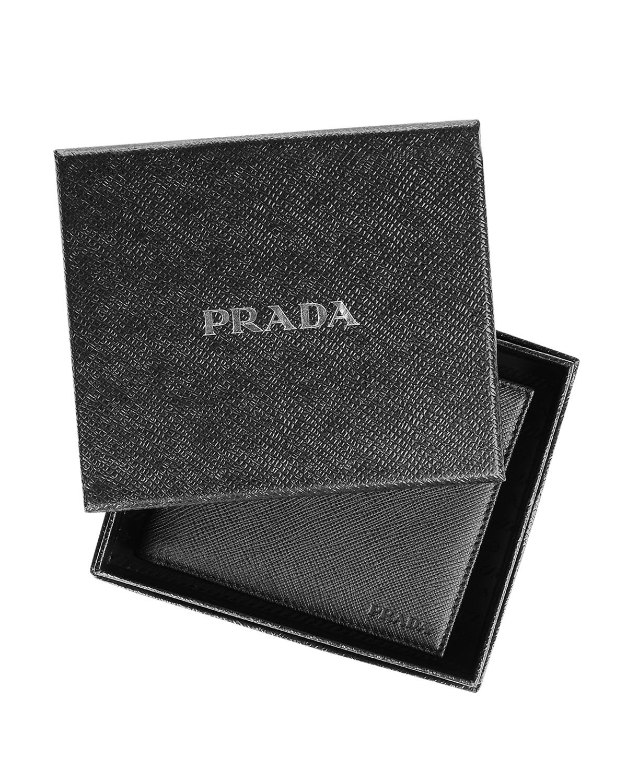 意大利 PRADA 普拉达 黑色皮革男士短款钱包 2M0513-053-F0002