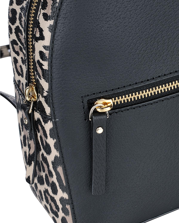 美国原装进口 Kate Spade 凯特丝蓓 sammy grove street leopard 女士黑色皮革豹纹小号双肩包 WKRU5428-006