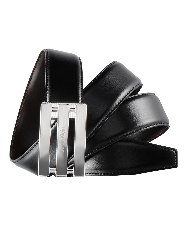 意大利原装进口 Calvin Klein 卡尔文克莱因 男士黑色板扣双面皮带 SU31CK0008