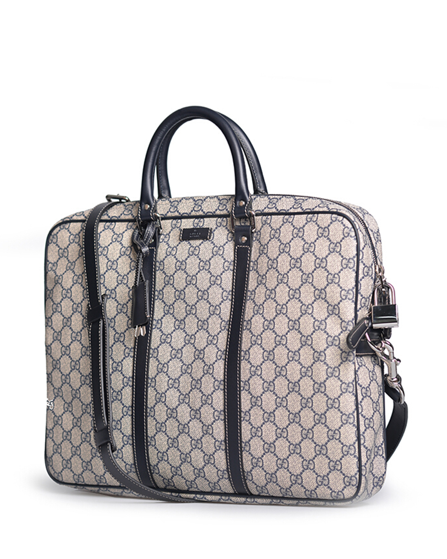 意大利 Gucci 古驰 男士深蓝色PVC/小牛皮公文包 208463-KGDHN-4075