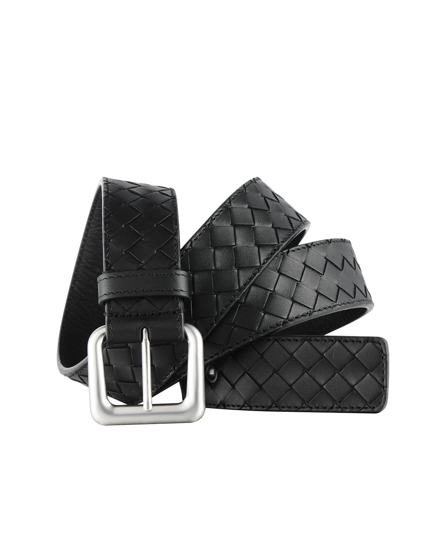 意大利 Bottega Veneta 葆蝶家 男士黑色牛皮编织针扣腰带 271932 V465V-1000 尺码:110cm
