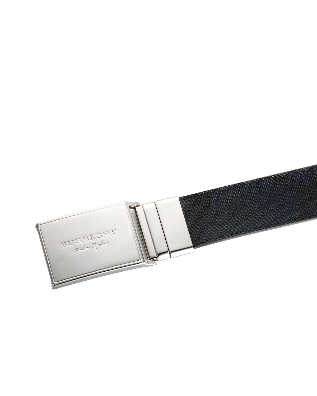 英国 Burberry 博柏利 黑/蓝拼色PVC配小牛皮男士板扣腰带 4056588 4100B-NAVY BLACK 尺码:105cm