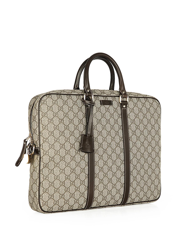 意大利 Gucci 古驰 棕色男士PVC手提公文包 208463-KGDHG-9643