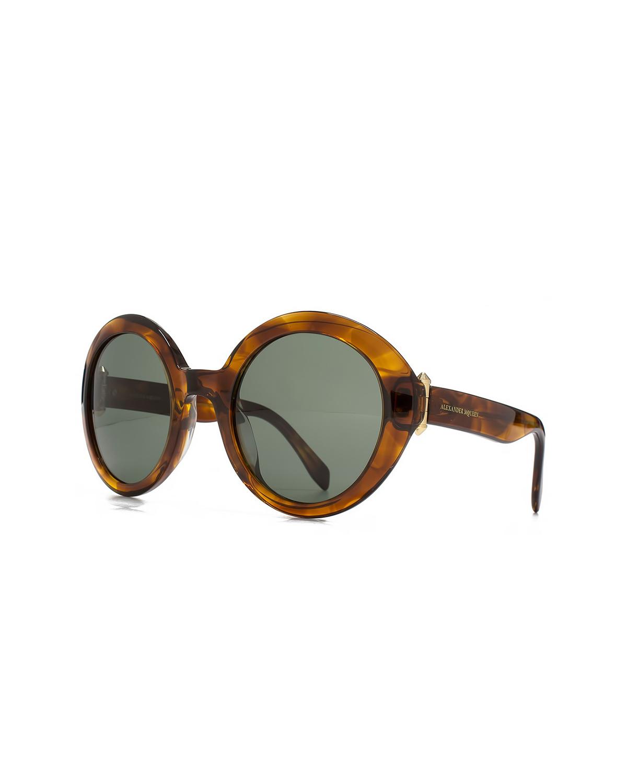 英国 Alexander McQueen 亚历山大·麦昆 女士时尚太阳镜 AM0002S 002 51 椭圆形哈瓦那镜框灰绿色镜片51mm