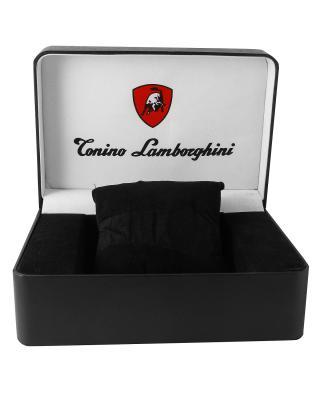 Tonino Lamborghini 兰博基尼黑色316L精钢0.05克拉钻石男士三眼日历计时石英腕表 EN033D.101
