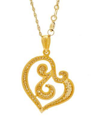De Dears 黛狄尔斯 925银镀18K金密钉镶2.15克拉锆石女士心形雕花吊坠【配链】
