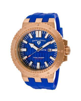 Swiss Legend 瑞士传奇Challenger系列不锈钢圆形蓝色硅胶石英机芯男士手表