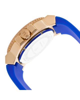 Swiss Legend 瑞士传奇Challenger系列不锈钢圆形蓝色硅胶石英机芯男士手表 SL-10126-RG-03