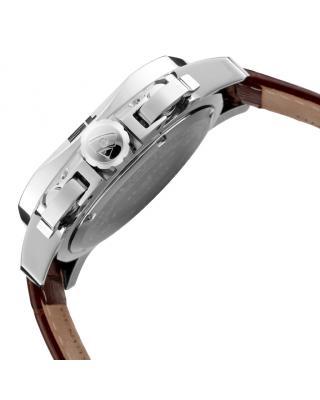 Swiss Legend 瑞士传奇Scubador系列不锈钢圆形棕色真皮石英机芯男士手表 SL-10538-09