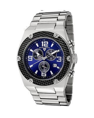 Swiss Legend 瑞士传奇Throttle系列不锈钢圆形银色石英机芯男士手表