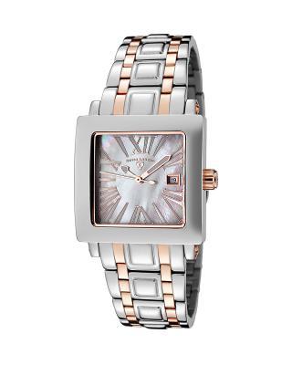 Swiss Legend 瑞士传奇Colosso系列不锈钢方形银色和玫瑰色石英机芯女士手表