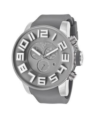 Swiss Legend 瑞士传奇Airbourne系列不锈钢圆形灰色硅胶石英机芯男士手表