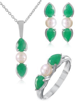 Quin 925纯银镀铑梨形祖母绿圆形珍珠珠宝套装