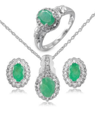Quin 925银镀铑椭圆形祖母绿圆形蓝晶珠宝套装