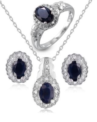 Quin 925银镀铑椭圆形蓝宝圆形蓝晶珠宝套装