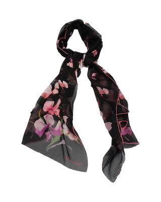 意大利Valentino华伦天奴黑色印花围巾