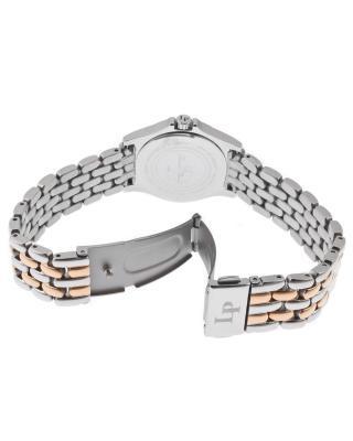 Lucien Piccard 卢森皮卡尔Adina系列不锈钢圆形银色和玫瑰金色石英机芯女士手表 LP-13459-SR-22S