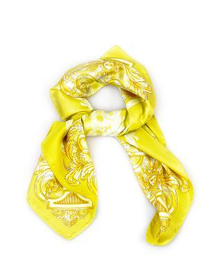 意大利 Versace 范思哲 明黄色时尚印花多功能女士真丝丝巾