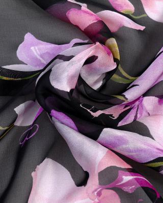意大利 Valentino 华伦天奴 优雅黑印花秋冬必备时尚女士真丝丝巾
