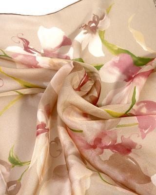 意大利 Valentino 华伦天奴优雅名媛时尚棕色真丝女士丝巾