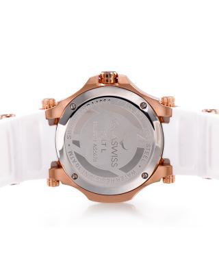 Aquaswiss 瑞士水绿 玫瑰金色316L精钢硅胶女士瑞士石英手表 39LD002