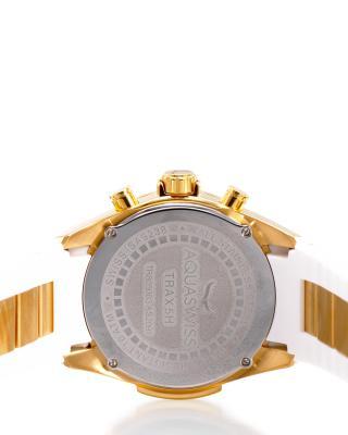 Aquaswiss 瑞士水绿 金色316L精钢硅胶男士瑞士石英手表 TR805008