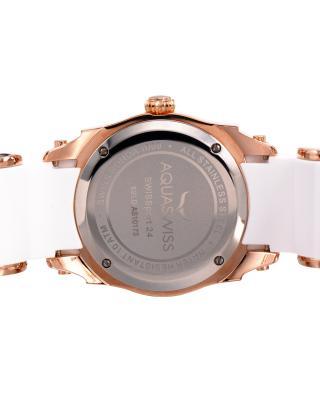 Aquaswiss 瑞士水绿 玫瑰金色316L精钢硅胶中性瑞士石英手表 62LD2404