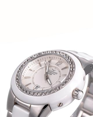 Aquaswiss 瑞士水绿 316L精钢白色陶瓷女士瑞士石英手表 59G006