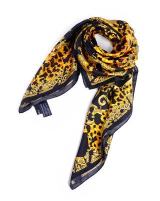 意大利Versace 范思哲黄黑色真丝性感优雅人气爆款女士时尚丝巾