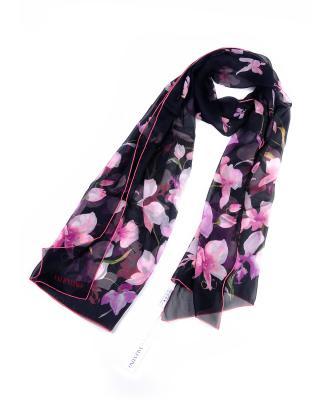 意大利 Valentino 华伦天奴 优雅黑印花暖春必备时尚女士真丝丝巾