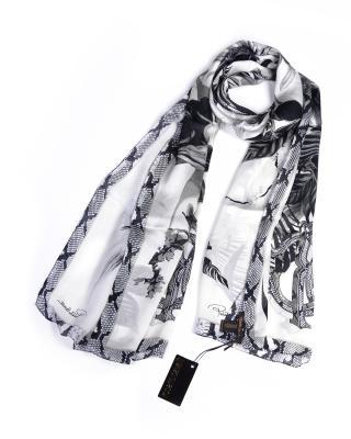 意大利经典 Roberto Cavalli 罗伯特卡沃利 黑白花色秋冬必备女士真丝丝巾