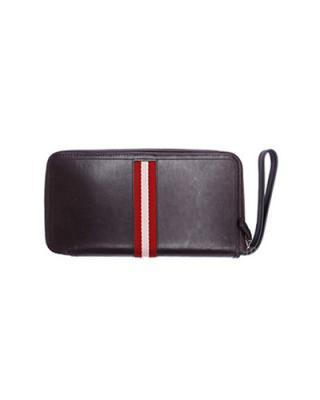 瑞士 Bally 巴利 男士小牛皮经典米红条纹多功能手拿腕带钱包 TALMAN/271