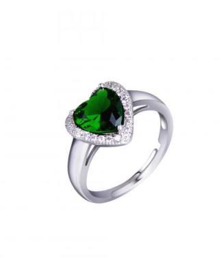 Celine Fang高贵典雅心形绿宝石镶施华洛世奇水晶套装
