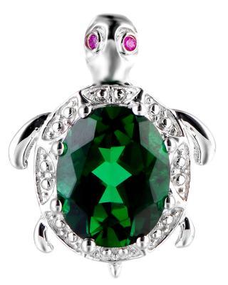 动物系列 Celine Fang 赛琳.方 928银镀白金施华洛世奇锆石绿色乌龟项链