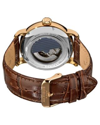 Akribos XXIV 阿克波斯棕色真皮机械机芯男士腕表