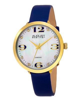 【夺宝】August Steiner 八月施泰纳蓝色真皮石英机芯女士腕表